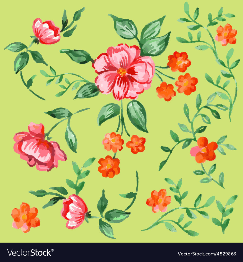 Handpainted watercolor flowers and leaves vector