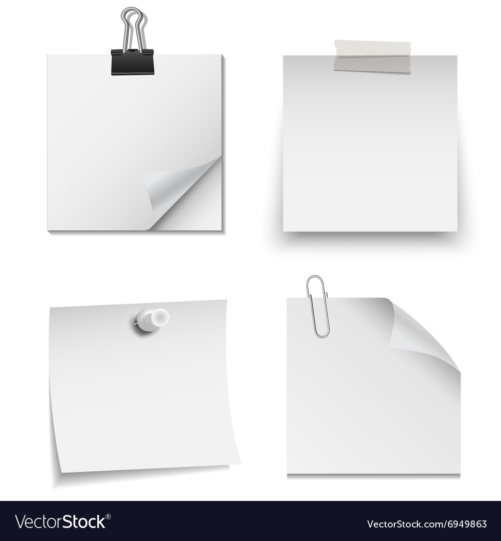 Set of white paper notes vector