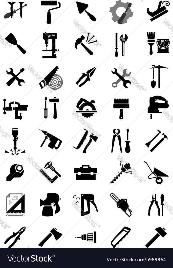 Black electric and manual tool icons vector