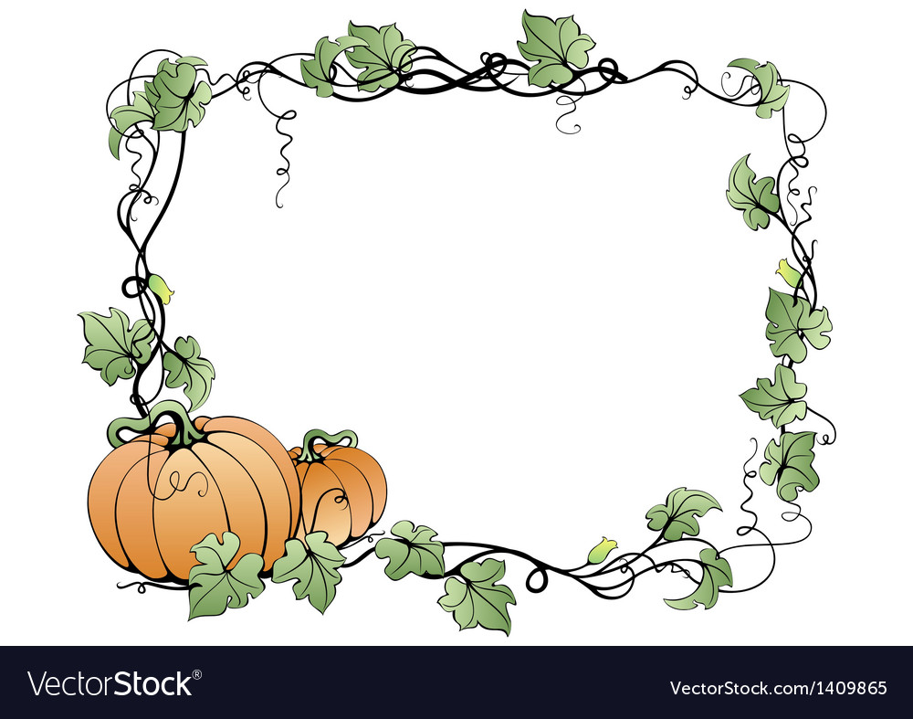 Frame with pumpkins and leaves vector
