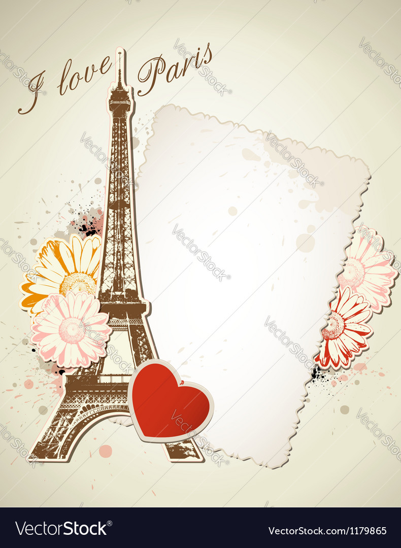Old frame and eiffel tower vector