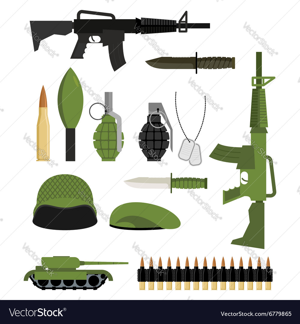 Set of icons for weapons of war military units vector