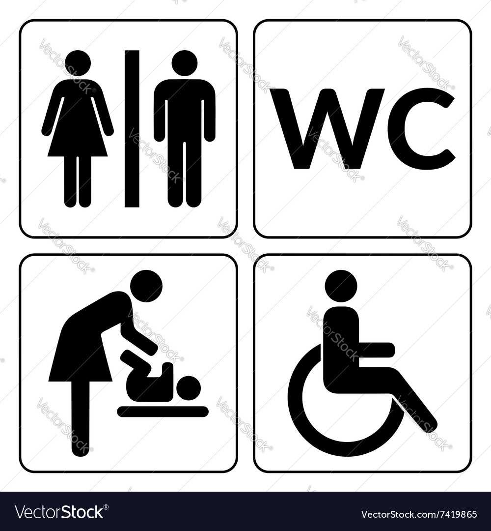 Wc icons set vector