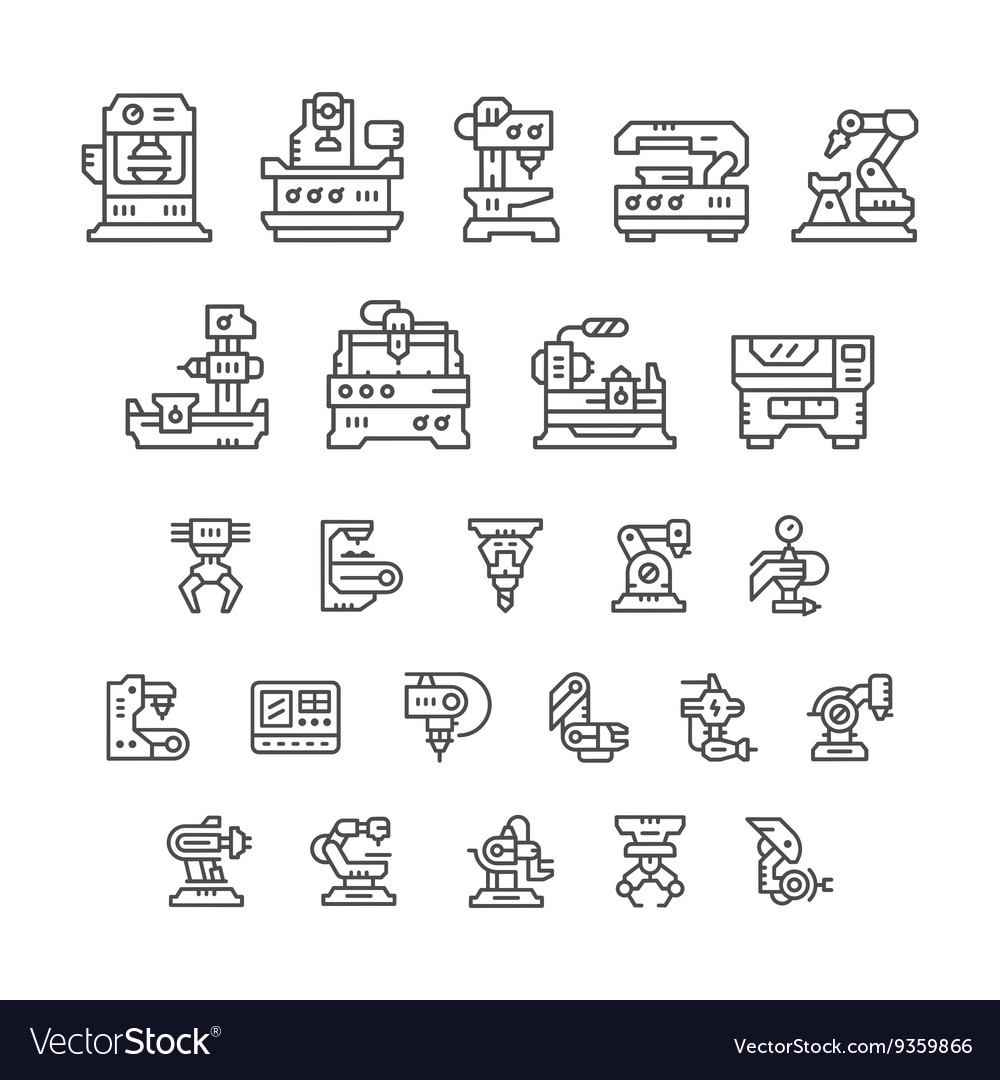 Set line icons of machine tool robotic industry vector