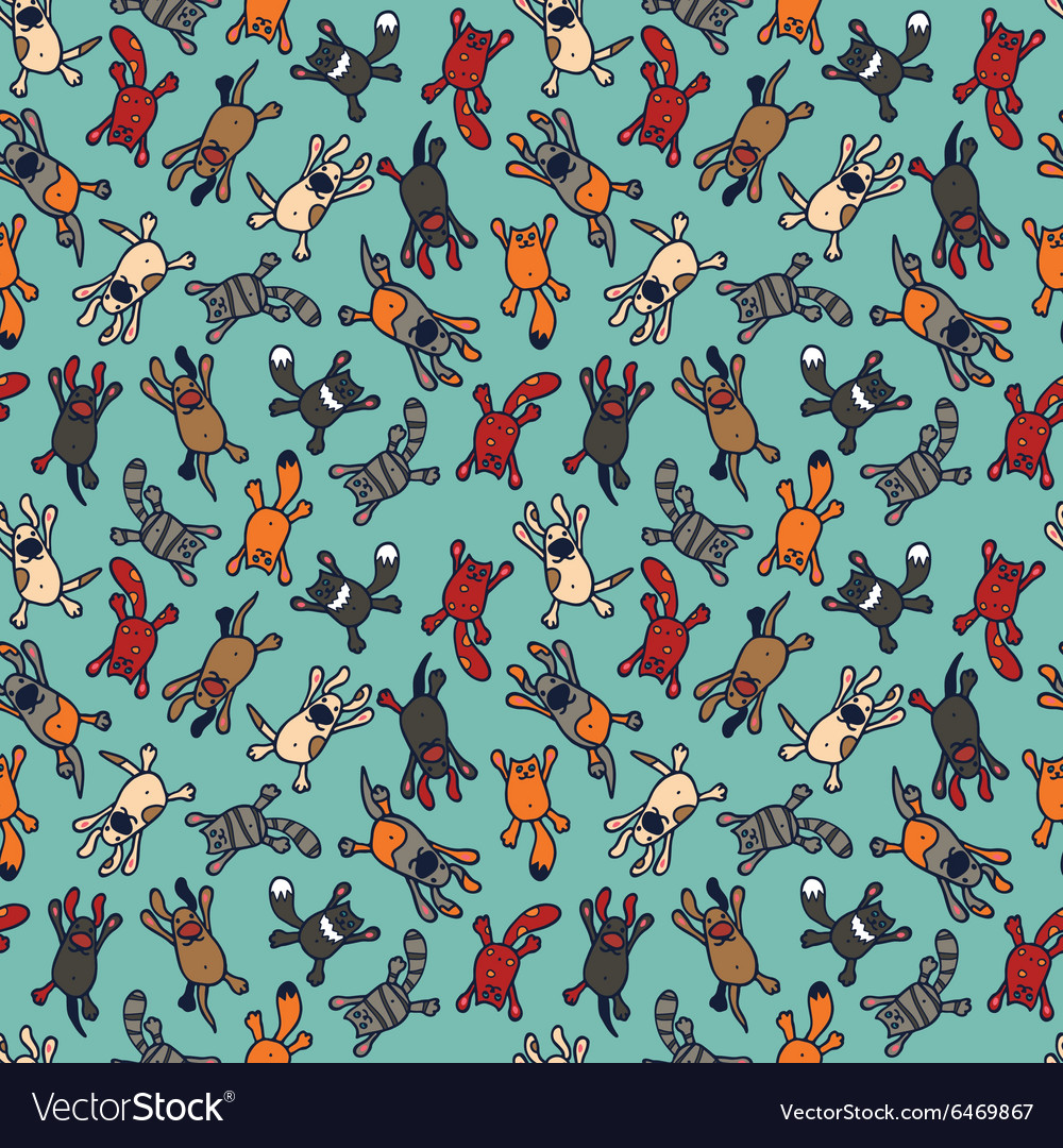 Bright seamless pattern with cute cartoon pets vector