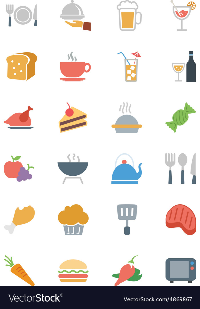 Food colored icons 1 vector