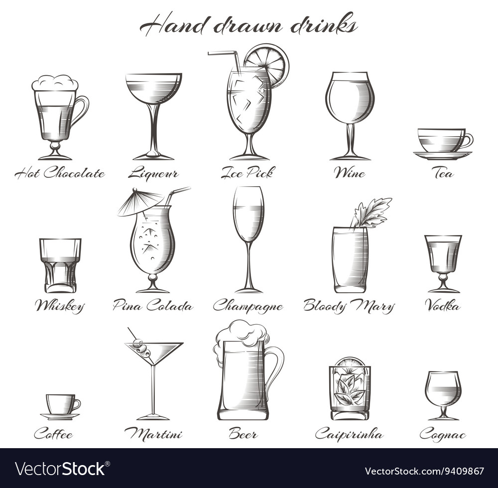 Hand drawn alcoholic and nonalcoholic drinks vector