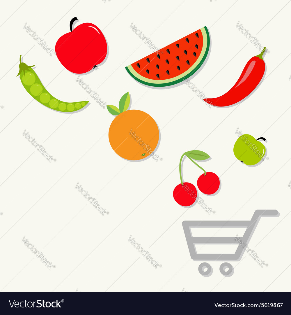 Organic fruits and vegetables falling into the vector
