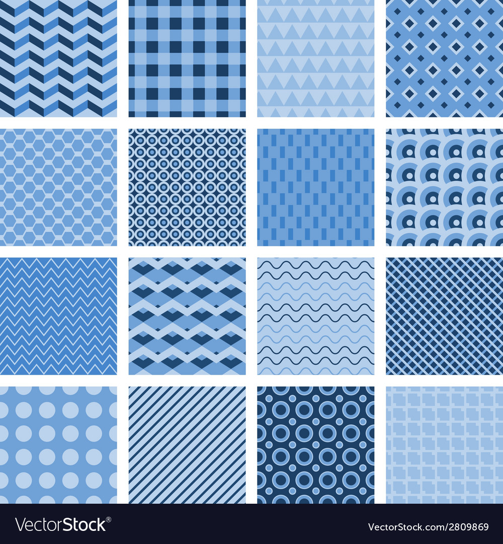 Set of seamless geometric patterns in blue vector