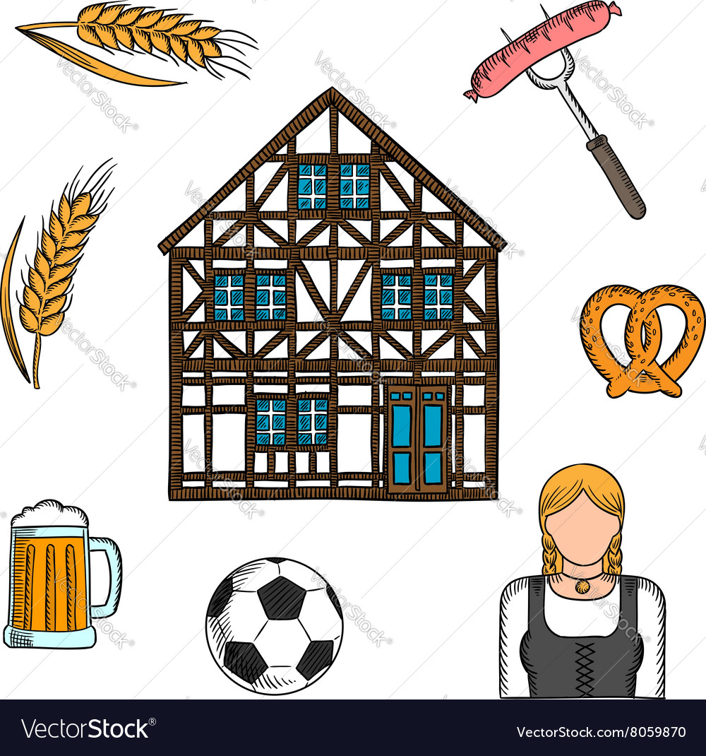 Bavarian culture and traditions icons vector