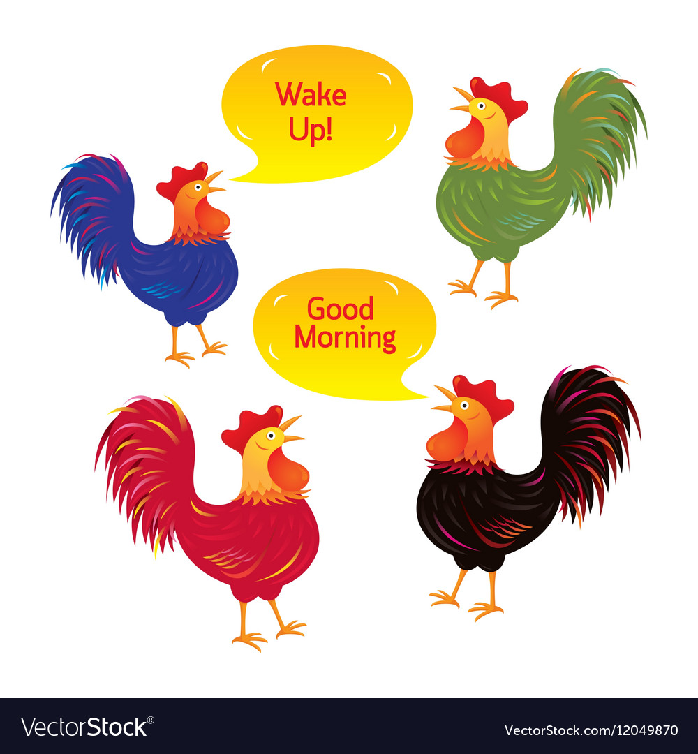 Rooster cartoon characters vector