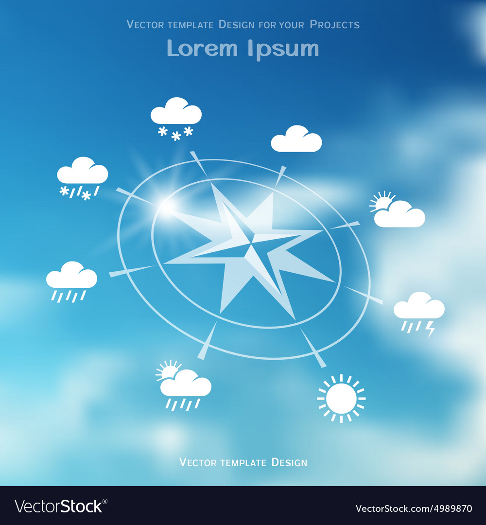 Wind rose and weather icons on blurred background vector