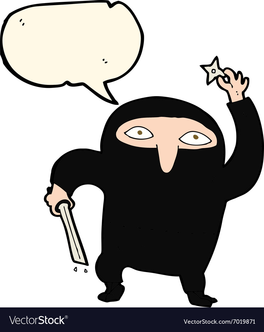 Cartoon ninja with speech bubble vector