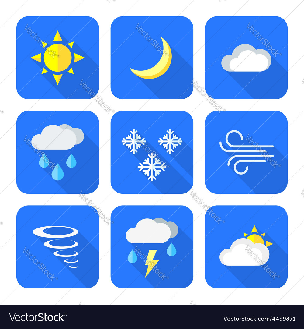 Flat style colored weather forecast icons set vector