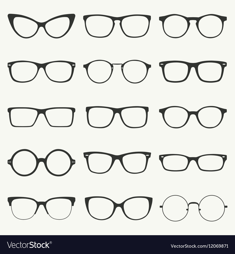 Glasses silhouette set vector