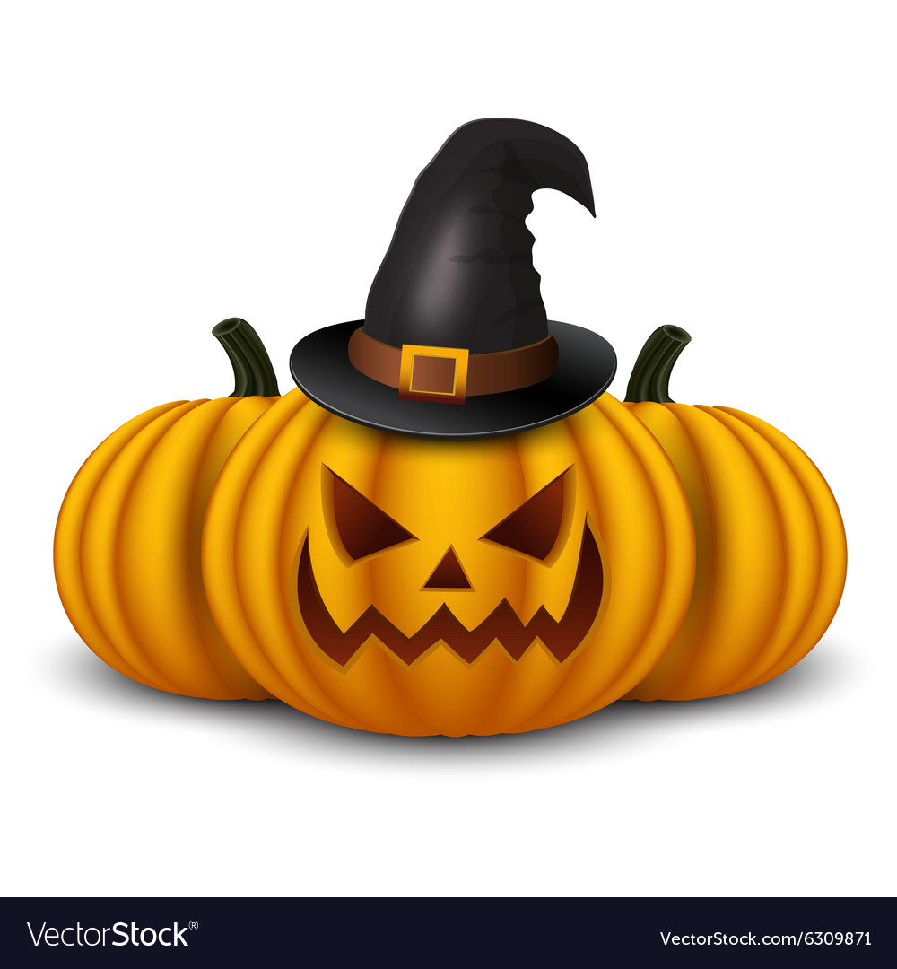 Halloween background with three pumpkins vector