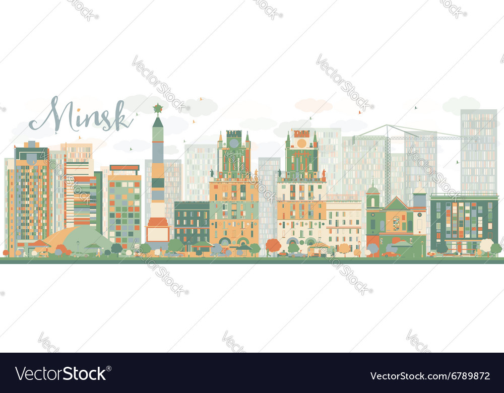 Abstract minsk skyline with color buildings vector