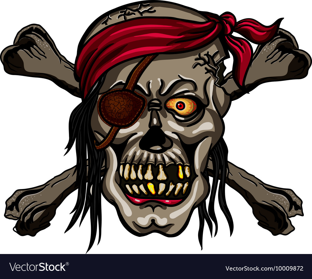 Danger pirate skull in red bandanna and crossbones vector