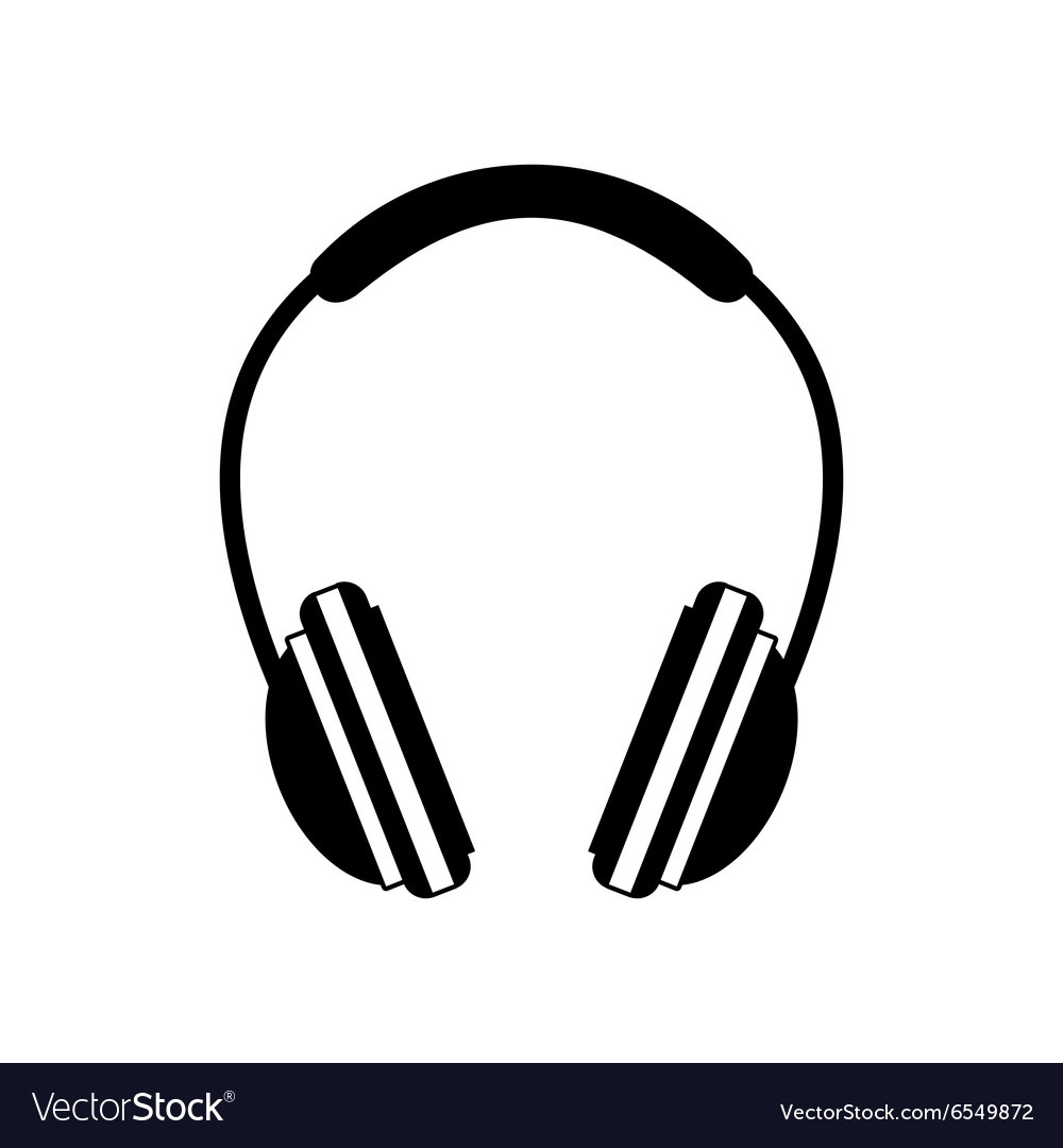 Headphone black icon vector
