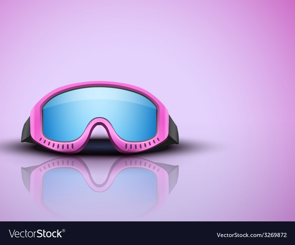 Light background with pink ski goggles vector