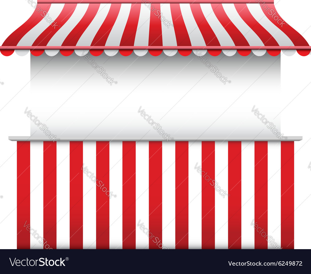 Stall with stripped awning vector