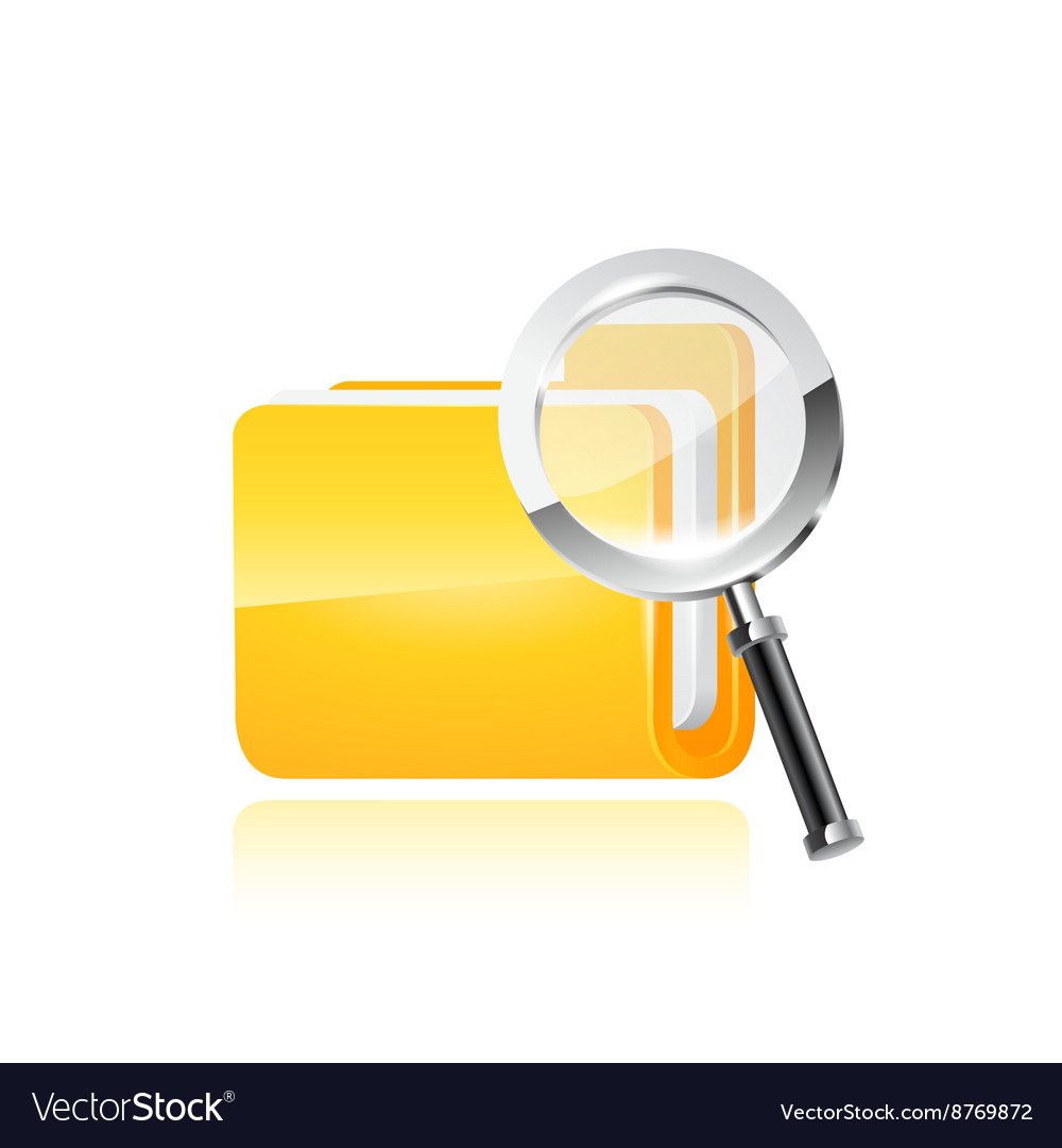 Yellow folder icon and magnifying glass vector