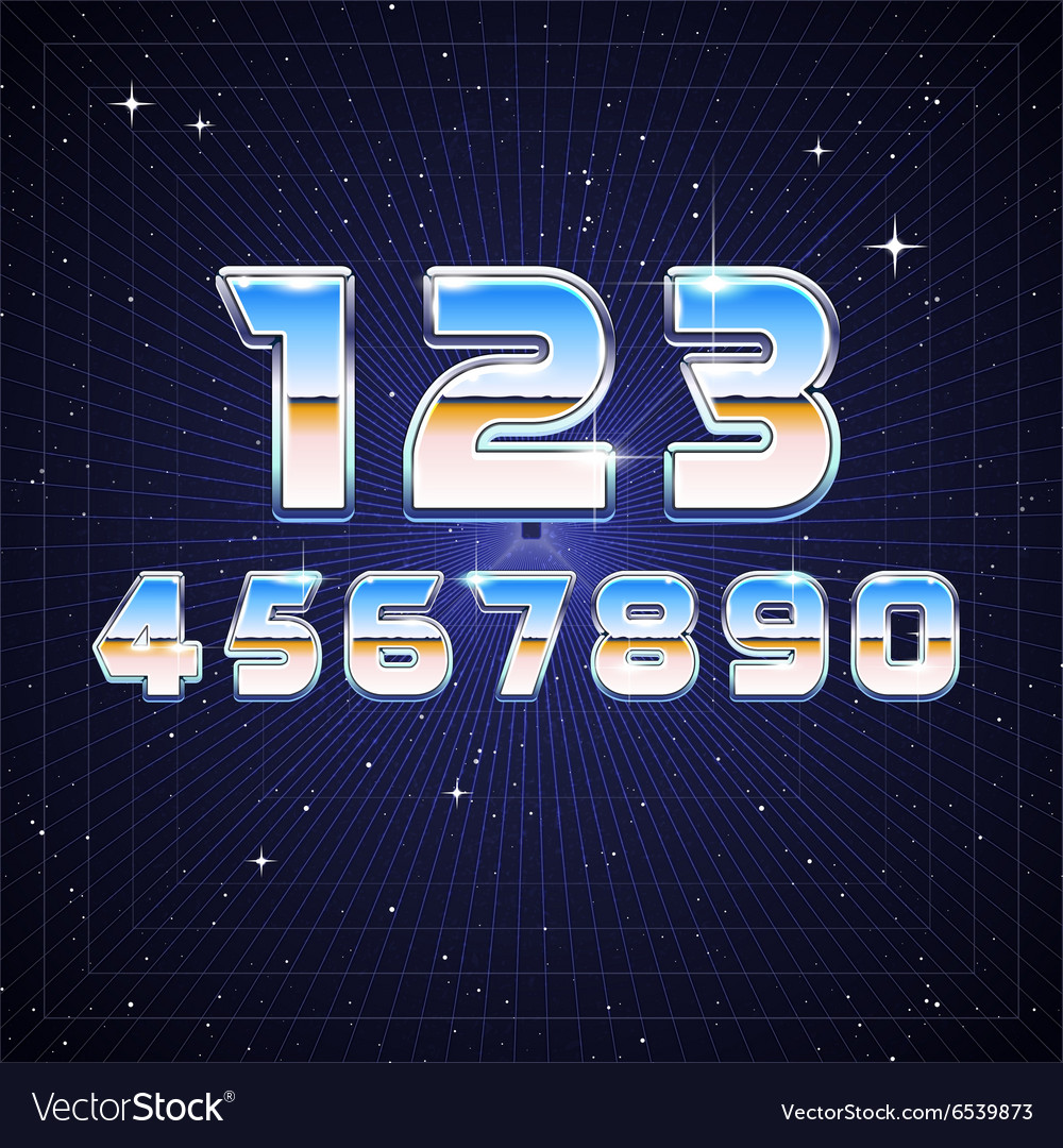 80s retro scifi numbers vector