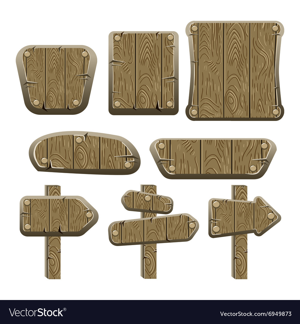 A set of wooden boards panels and signs2 vector