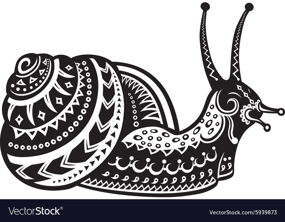 Ethnic ornamented snail vector