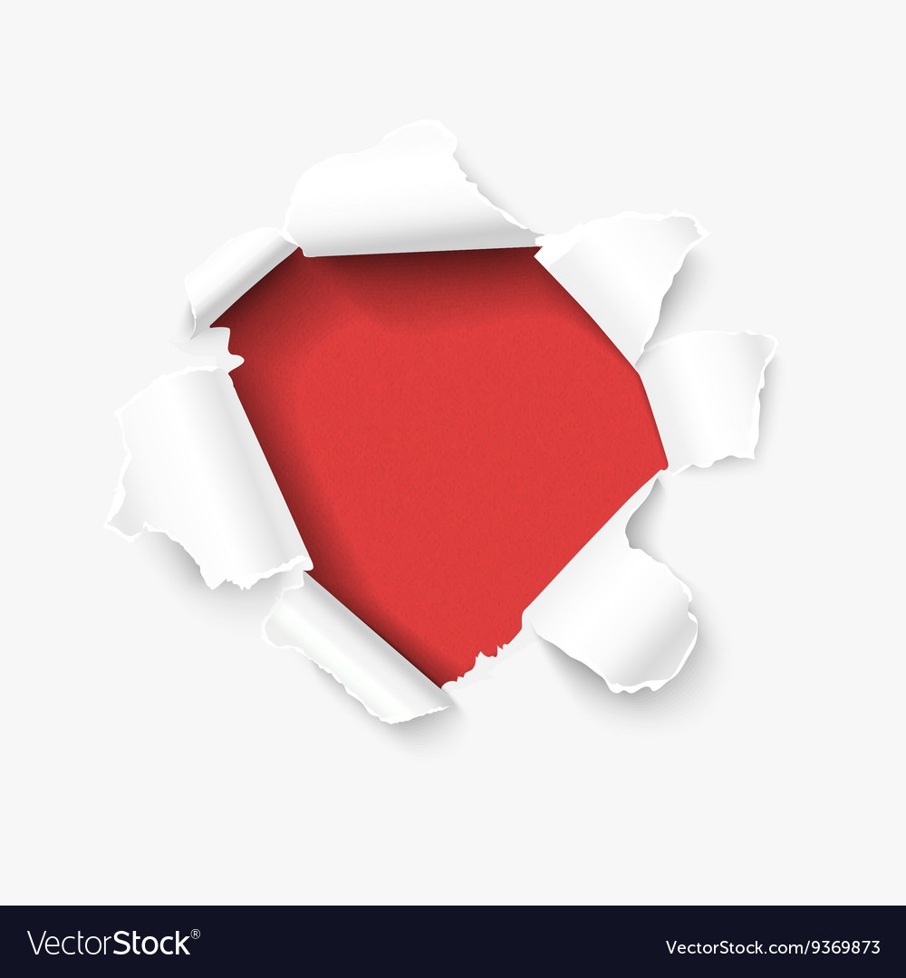 Hole in white paper with torn sides vector