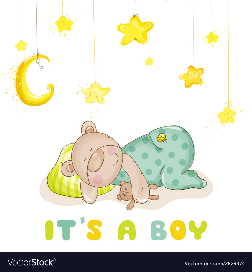 Baby arrival card  sleeping baby bear and stars vector