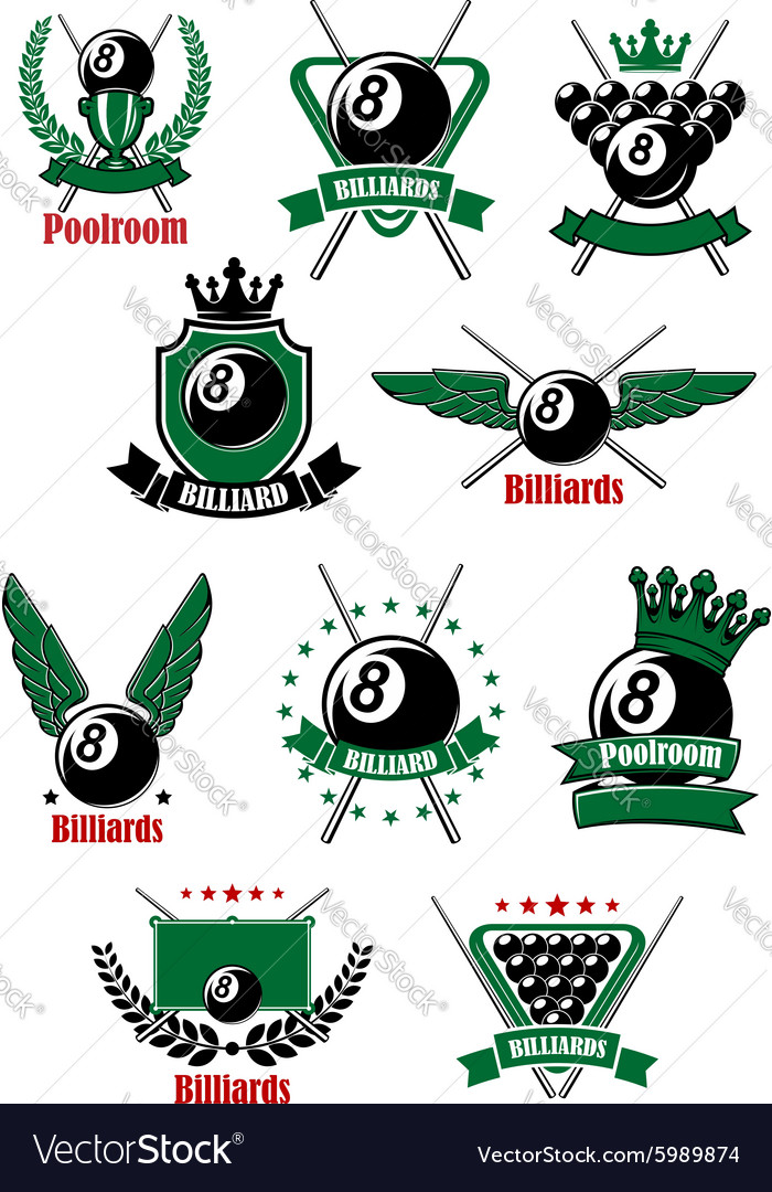 Billiards game icons with sport items vector