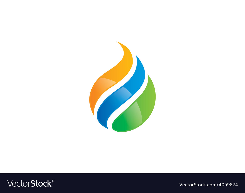 Ecology water drop abstract swirl logo vector
