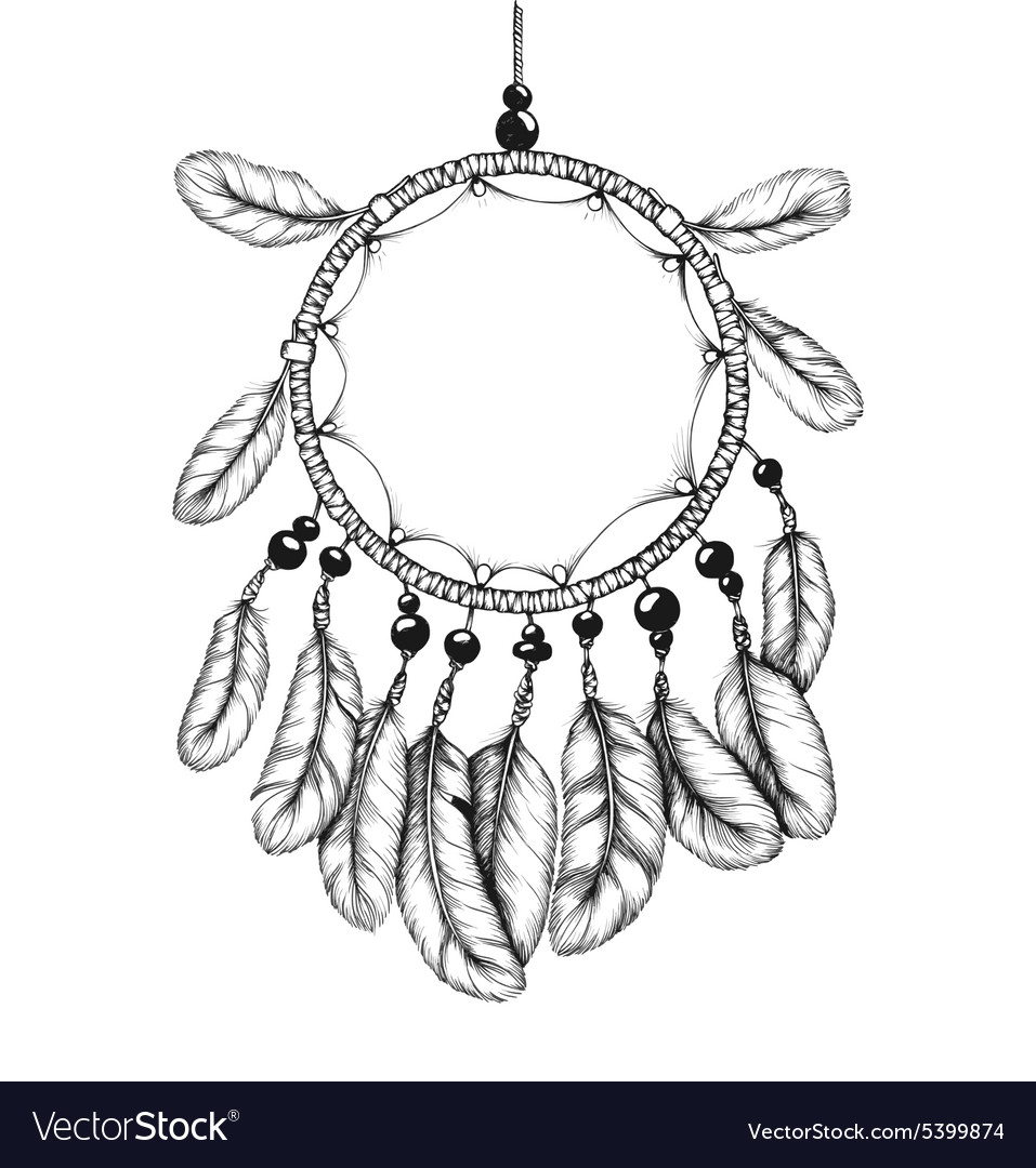 Ethnic tribal dream catcher with feathers vector