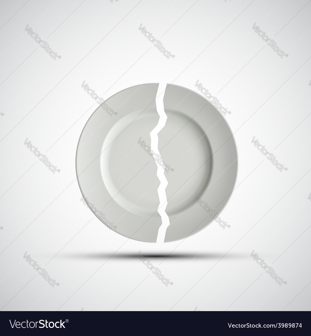 Image of a broken white plate vector