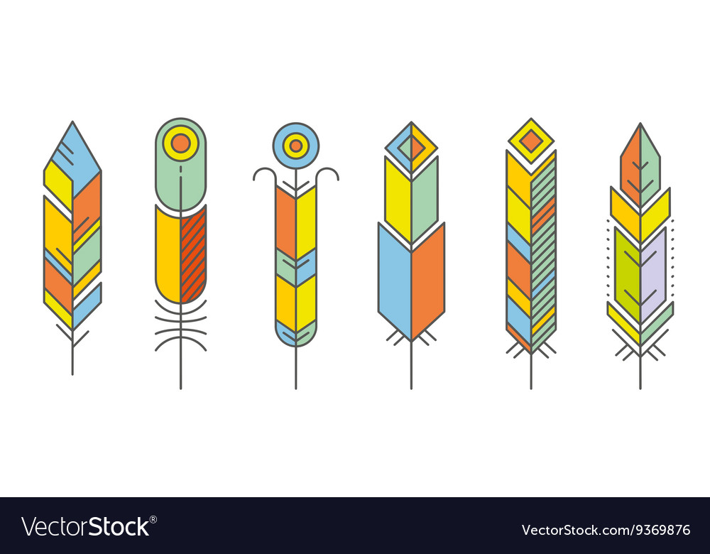 Abstract feather color icons vector