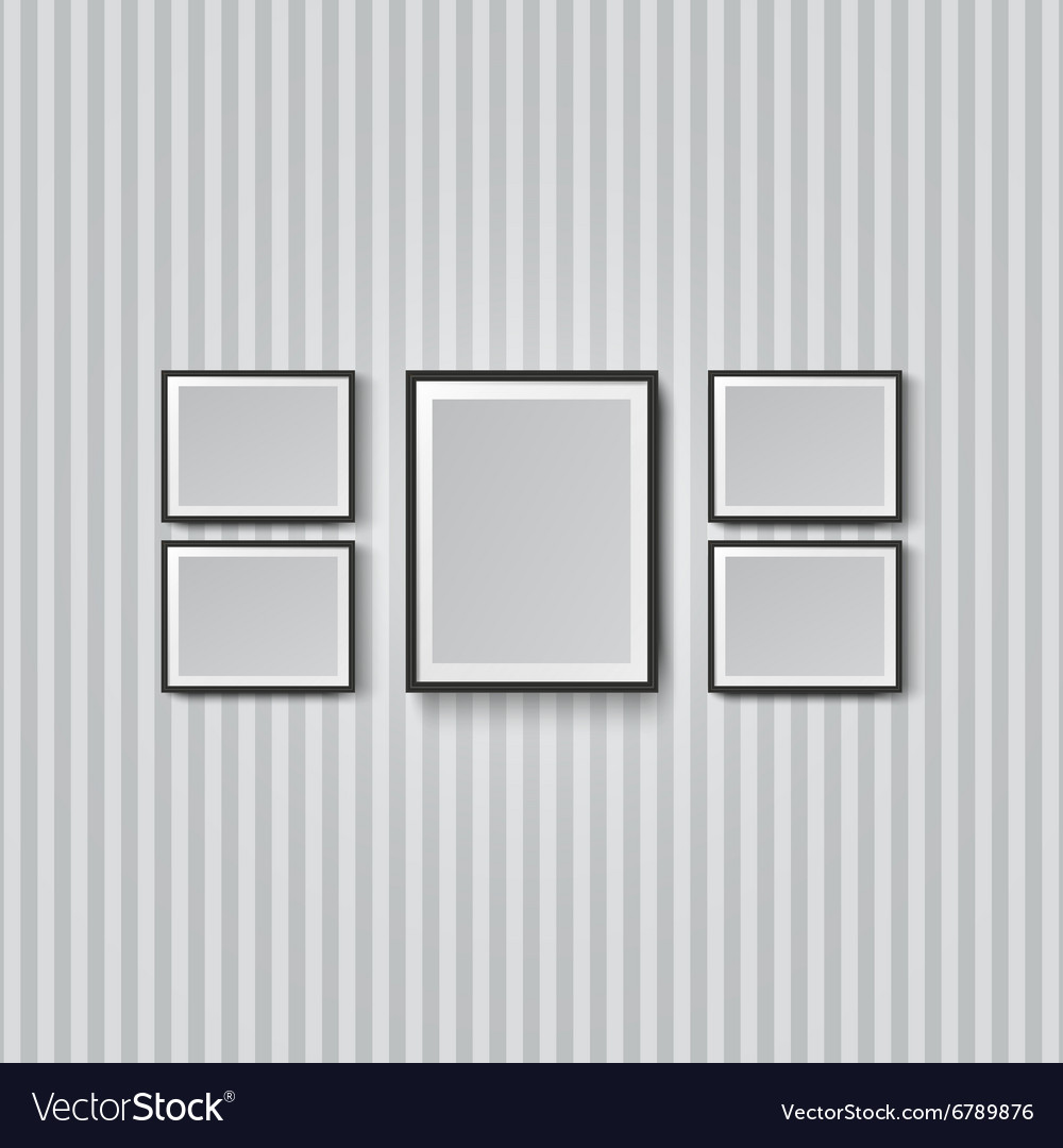 Blank picture frame striped wall vector