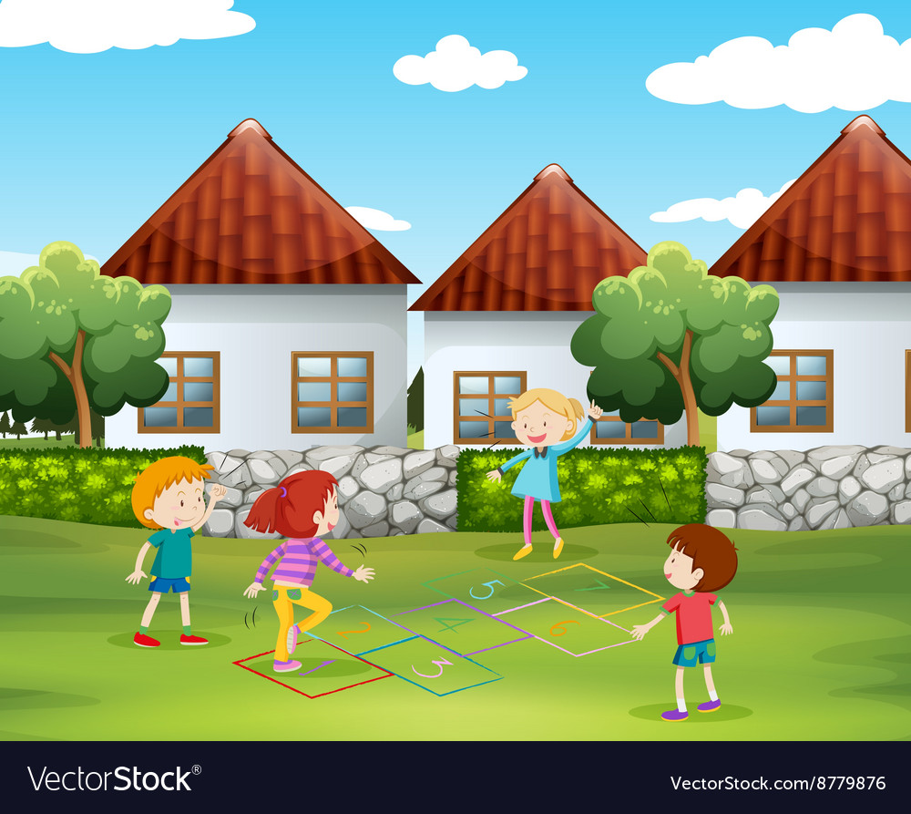 Children playing hopscotch in the yard vector
