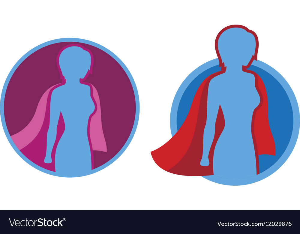 Female superhero icon  silhouette vector
