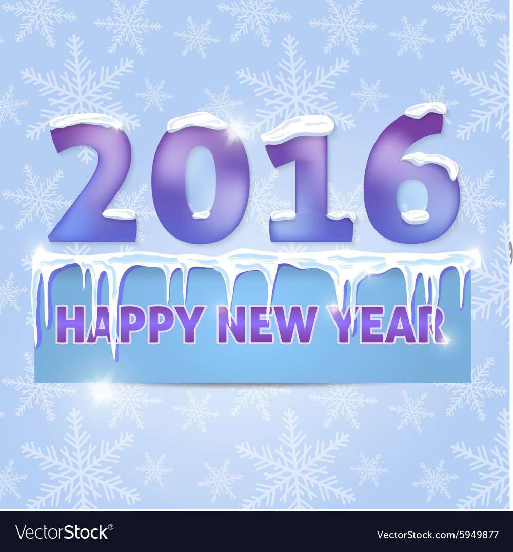 Card happy new year 2016 snowflakes icicles vector