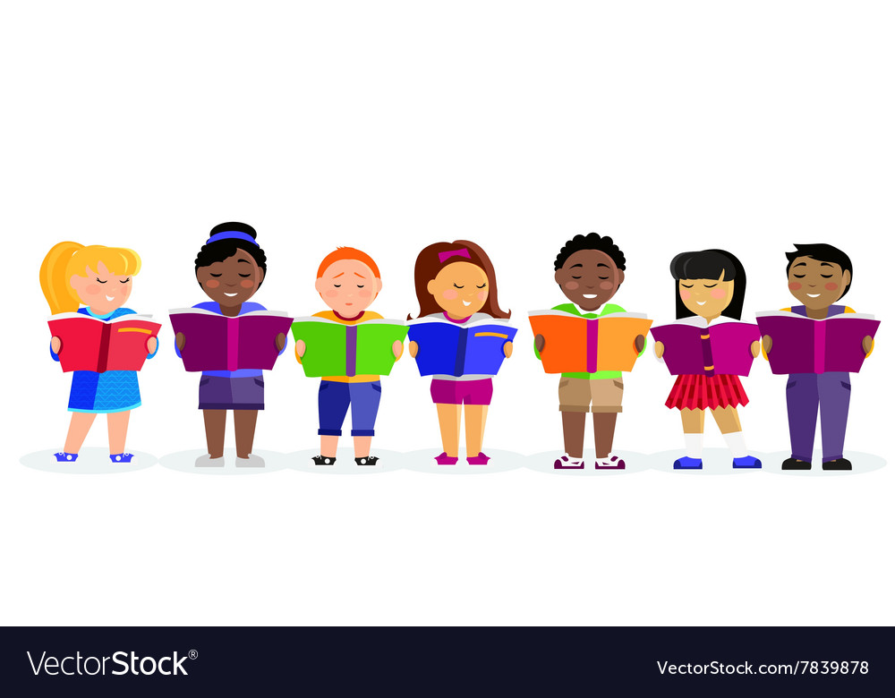 Group of children reading books vector