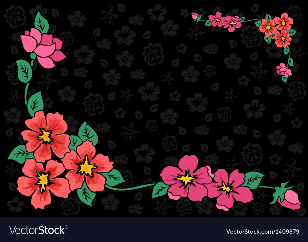 Abstract floral corner with dark background vector