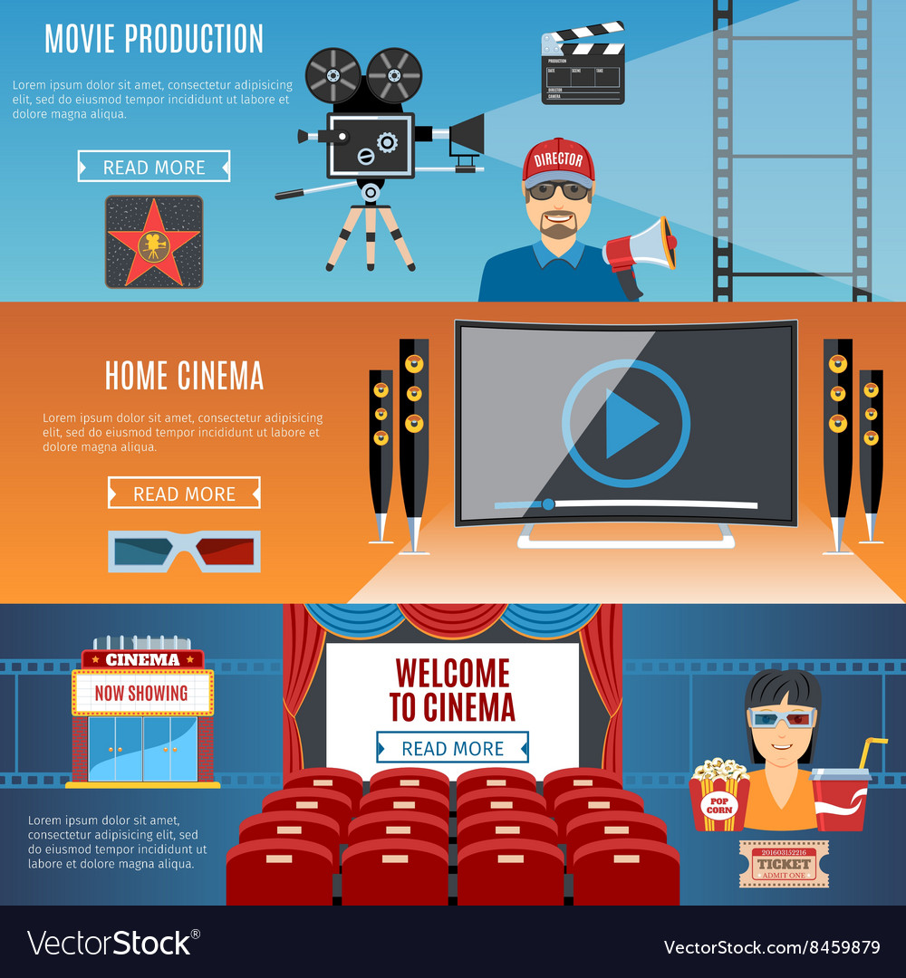 Cinema flat horizontal banners set vector