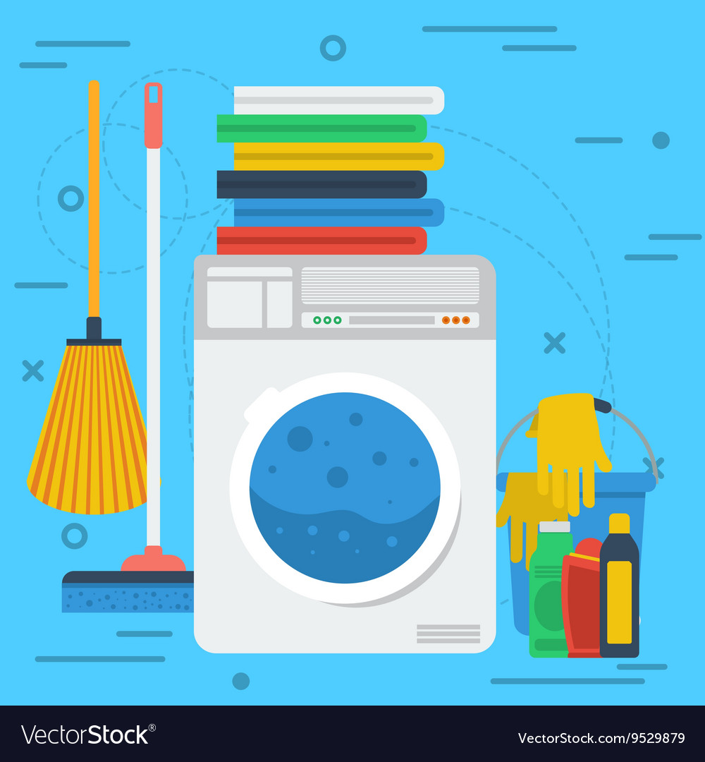 Cleaning items with washing machine vector