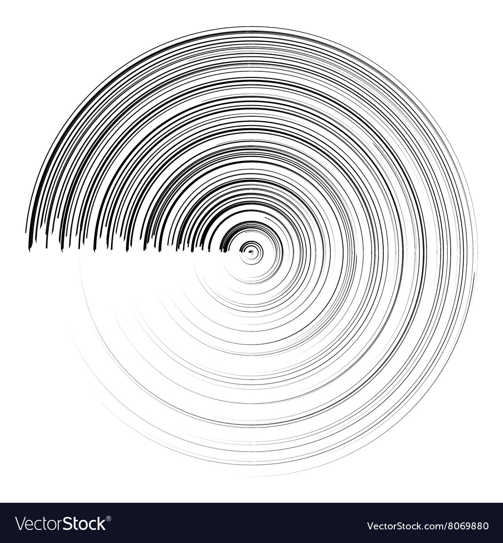 Abstract black round circle brush stroke vector