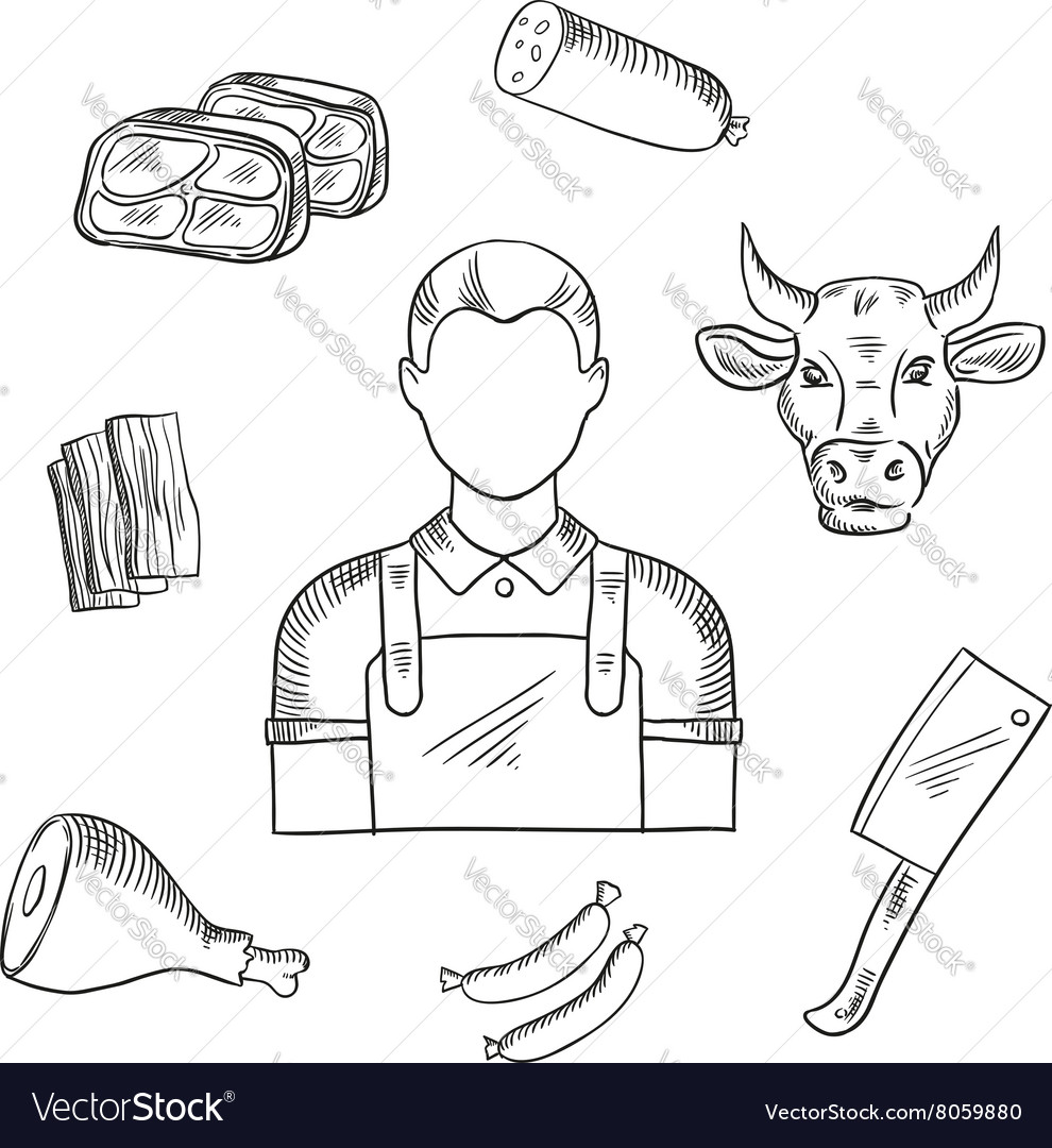 Butcher proffesion and meat icons vector