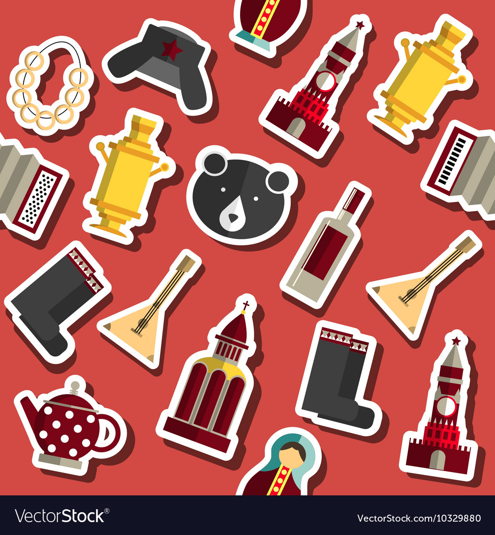 Russia flat collage vector