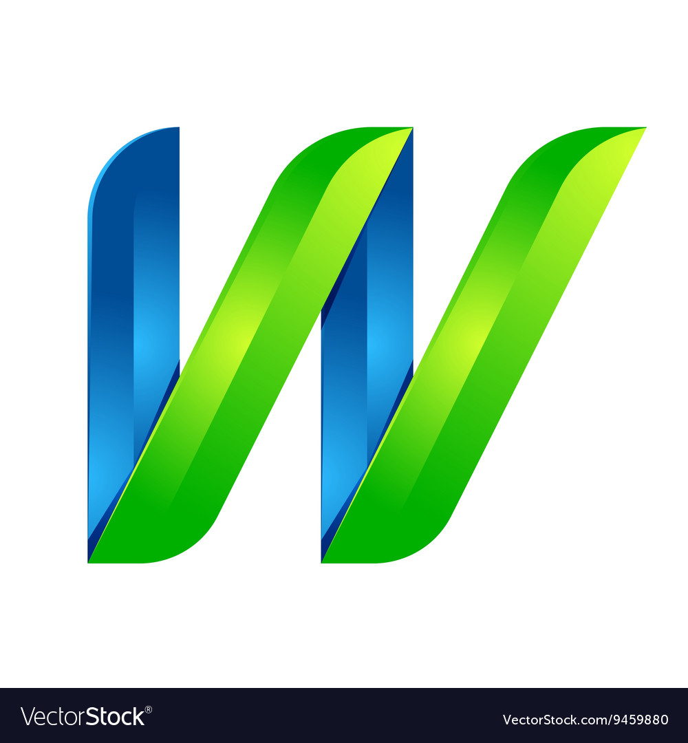 W letter leaves eco logo volume icon vector
