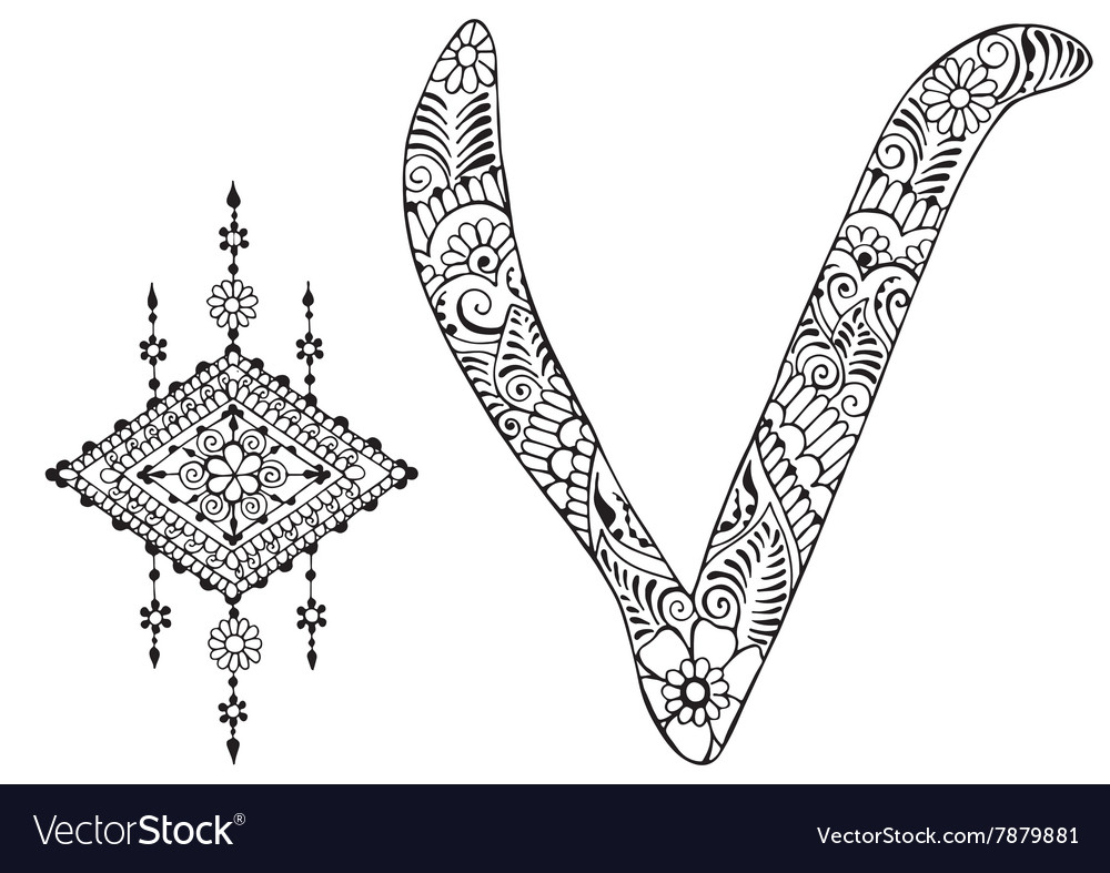 Letter v decorated in the style of mehndi vector