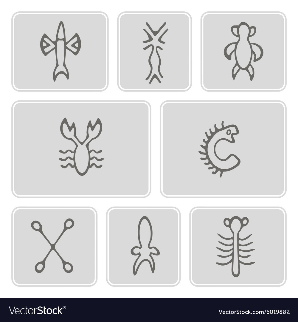 Monochrome icons with rongorongo glyphs vector